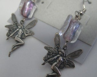 Fairy and lavender dichroic glass earrings