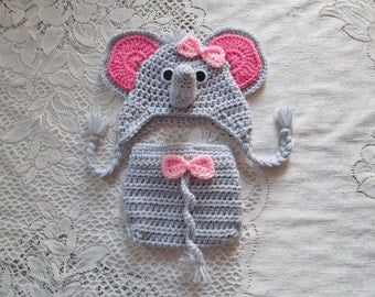 Crochet Baby Elephant Hat and Diaper Cover - With or Without Bow - Jungle Animals - Photo Prop - 0 to 24 Month Size - Any Color Combination