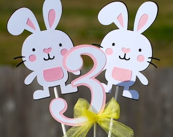 Easter Bunny Rabbit Birthday Party Centerpiece Set/ Bunny Party/ Bunny Banner