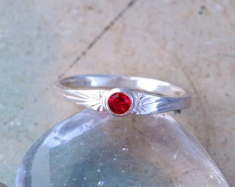 Little Red Dot - Small Sterling Silver Ring - Size 5.5