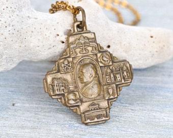 Anno Santo 1950 - Antique Pope Pius VII Medallion Necklace - Mid Century Religious Medal