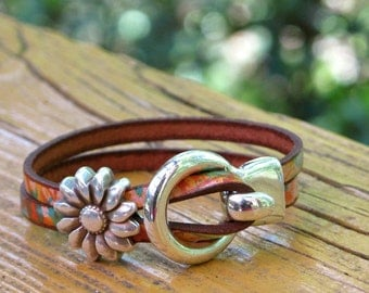 """Southwest Leather, Silver Wrap bracelet, Leather Wrap Bracelet, Whirly Wrap, Antique Silver """"Buckle"""" Hook, silver sunflower. easy hook clasp"""