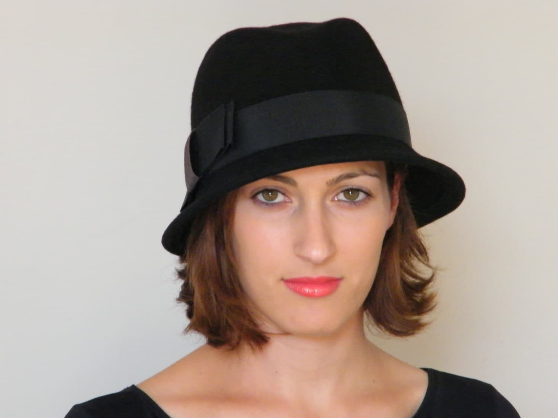 Black wool felt Fedora hat womens winter hat large by RanaHats