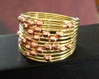 Gold and Copper Beaded Memory Wire Ring