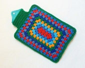 Hot water bottle cover crochet granny square cozy