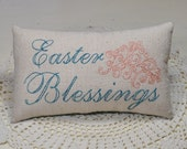 Easter Blessings Decorative Pillow - Hand Embroidered Easter Decor - Religious Home Decor - Teal Leaves - Coral - Osnaburg - Swirls