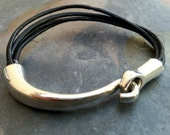 Half & Half leather and sterling silver bracelet for men or women - great gift idea