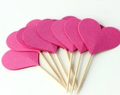 Pink Heart Cupcake Toppers, Food Pick, Princess Party, Birthday Party, Set of 8