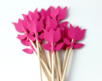 Spring Tulip Cupcake Topper, Garden Party, Baby Shower, Food Pick, Set of 12