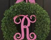 Monogram Wreath - Large Boxwood Wreath - 8 Color Choices -Year Round Wreath - Mothers Day Gift