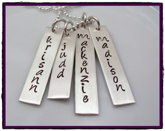 Hand Stamped Jewelry- Sterling Silver Personalized Rectangle tags