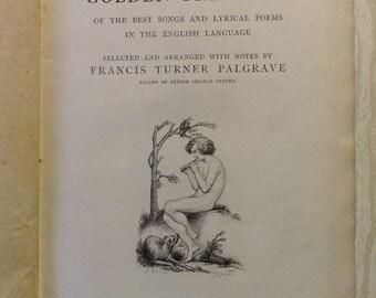 Vintage Poetry book 1862 - Golden Treasury of Songs And Lyrics