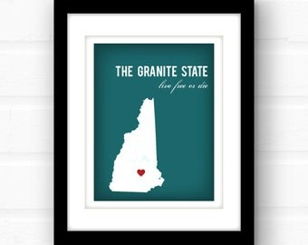 New Hampshire map art | custom New Hampshire art print | 11x14 state art print | New England home decor | New Hampshire wedding gift
