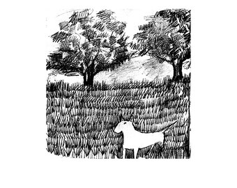 "Bull Terrier ""In the Field or the Lost Ball"" Print Black and White IllustrationMatted options"