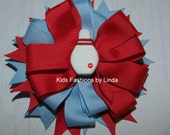 Red/Blue  Bowling Hair Bow with Alligator Clip or Barrette