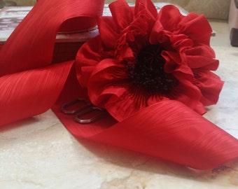 """2.25"""" Vintage Rayon Moire  Taffeta Ribbon Trim True Red"""