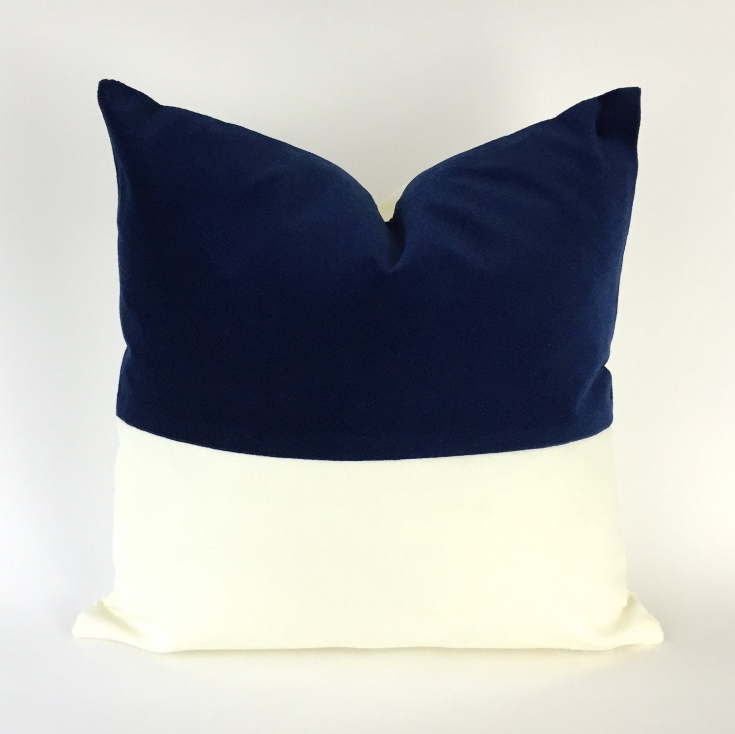 Throw Pillow Invisible Zipper : Colorblock Velvet and White Canvas Decorative Throw Pillow Cover- Invisible Zipper Closure