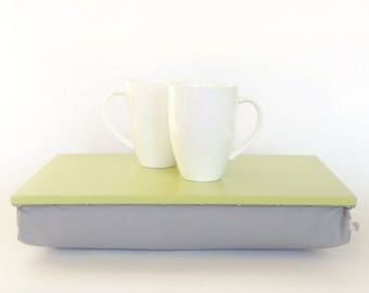 Kitchen serving tray with pillow or Laptop Lap Desk with supportive pillow - pastel green with Grey cotton pillow