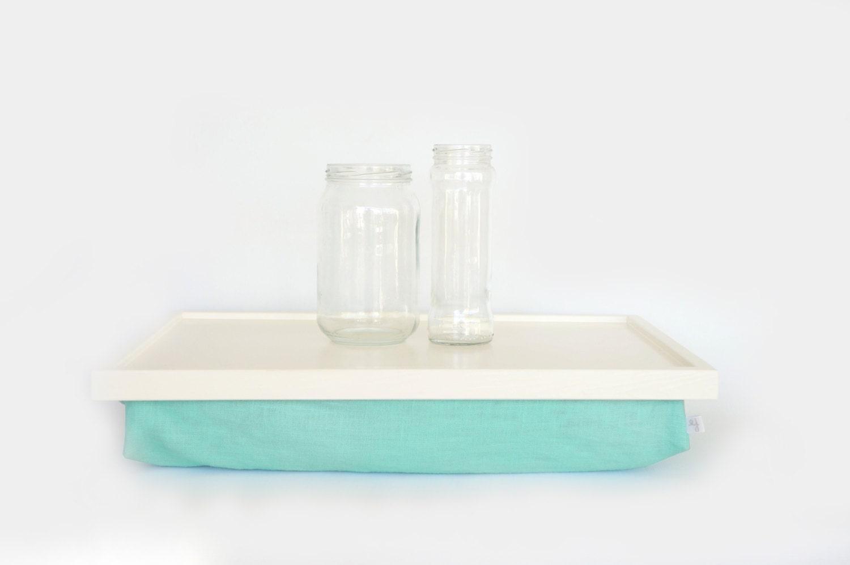 Aqua pillow iPad desk or Laptop Lap Desk f white with