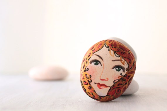 Painted stone. Ready to ship painted pebble. Beach pebbles art .