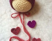 Ready To Ship Crochet NEWBORN Valentine Bonnet and Love Drops, Valentines Day, Bonnet, Heart