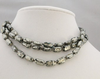 Vintage ROBERT DEMARIO 3 Strand Charcoal Beaded Necklace