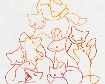 Pile O' Cute Cuddle Foxes Embroidered Flour Sack Hand/Dish Towel