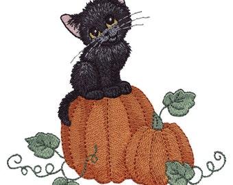 Pumpkin Kitty Embroidered Flour Sack Hand/Dish Towel