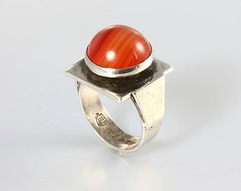 Carnelian Ring, Modernist Sterling silver Ring, Orange Agate Vintage Mexican jewelry, Eagle mark, Orange Agate  Size 5 1/2