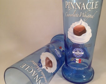 Pinnacle Chocolate Whipped Vodka Recycled Bottle Glasses - Set of 2
