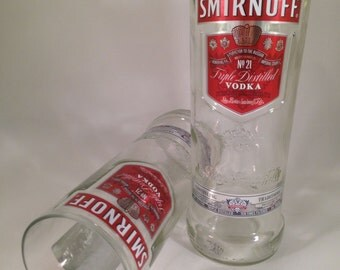 Smirnoff Vodka Recycled Bottle Glasses - Set of 2