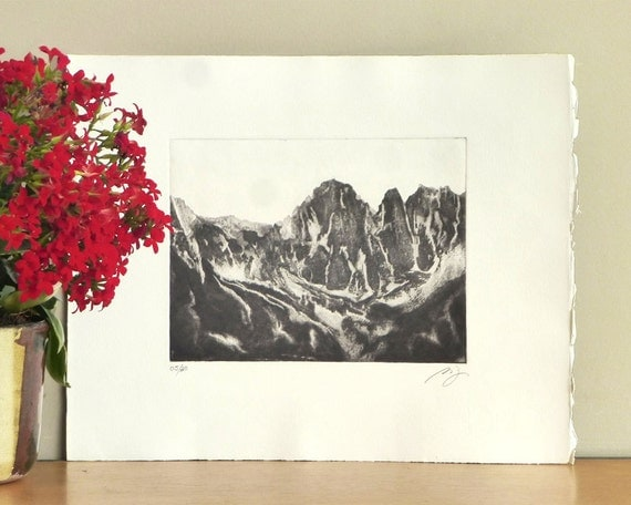 Original Etching Print Aquatint Printmaking Kings Canyon Park Landscape HIGH SIERRA PEAKS California Wall Decor Mezzotint Printmaking 12x10