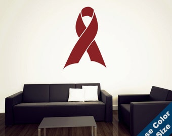 Red Ribbon Wall Decal - Awareness Support Vinyl Sticker