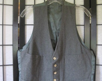 Vintage 1960s 1970s Classic Vest Gray Wool Buttondown 40 Long Grey Waistcoat