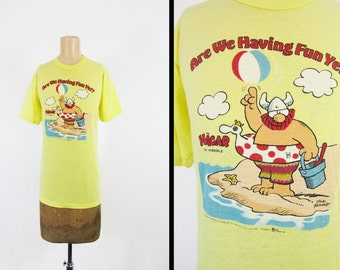 Vintage 80s Hagar the Horrible T-shirt Soft and Thin Yellow Tee - Medium / Large