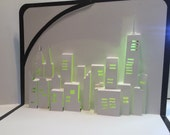 NEW YORK SKYLINE Pop Up 3d Card Home Decoration Origamic Architecture Hand Cut in White, Yellow and Metallic Shimmery Black Folds Flat OOaK