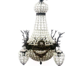 Stag Deer Head 10 light chandelier. As seen on Real Housewives of Beverly Hills. Chandy. Fig House Vintage.