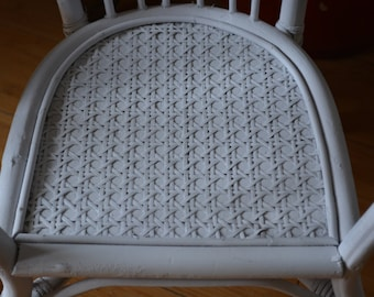Chair. White Woven Chair. Kids Wicker Chair. Photo Prop. Peacock Style