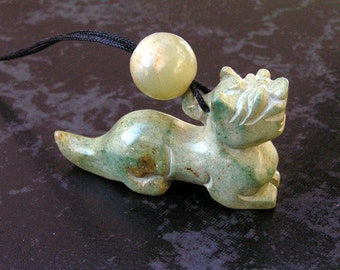 Ancient/Antique Jade Dragon Pendant Necklace with Antique Jade and Tibetan Agate Beads by NeoWare
