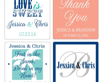 200 - 2 inch Custom Glossy Waterproof Wedding Stickers Labels - many designs to choose - change designs to any color, wording etc
