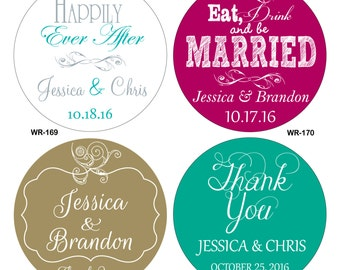 360 - 2 inch Custom Glossy Waterproof Wedding Stickers Labels - hundreds of designs to choose from - change designs to any color or wording