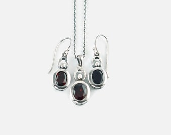 Vintage Sterling Silver and Garnet Drop Earrings and Pendant Set