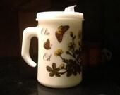 Vintage milk glass olive oil dispenser by Cerve//Made in Italy