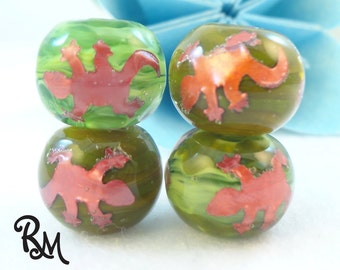 Lampwork Bead Set  'Gecko Galore'