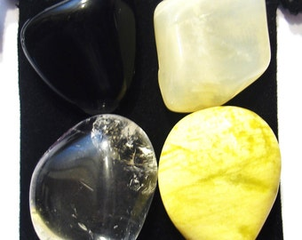CLEANSE AND DETOXIFY Tumbled Healing Set - 4 Gemstones w/Description & Pouch - Clear Quartz, Moonstone, Obsidian, and Serpentine