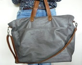 Grey waxed canvas weekend bag- weekender-travel bag- Diaper bag -gift for him/gift for her/travel accessories