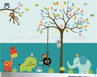 Childrens jungle decal wall owl decal sticker set