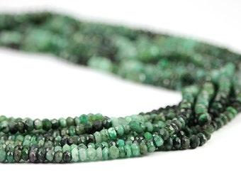 Natural Emerald Micro Faceted Rondelles Set of 15 Green Shaded Dark Kelly Precious Gemstone