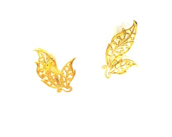 Earrings Ear Climbers Gold Leaf Large Statement Post