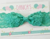 New { the Addy } Teal lace bow headband . baby girl headband, headwrap, newborn headband, baby headband